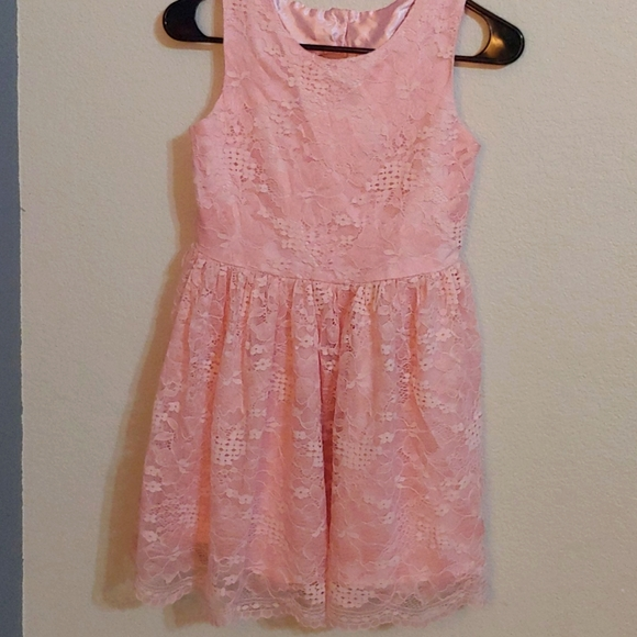 Children's Place girl's dress, size 12, pink, lace